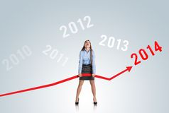 Woman with statistics curve Royalty Free Stock Images