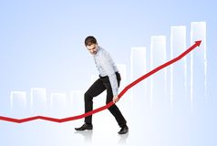Woman with statistics curve Royalty Free Stock Photo