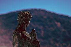 Woman Statue Looking at Mountains stock image