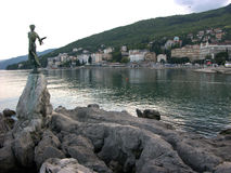 Woman statue with seagull in Opatija in Croatia Royalty Free Stock Photo