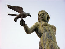 Woman statue with seagull in Opatija in Croatia Stock Photography
