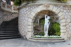 Woman Statue With Staircase Stock Images