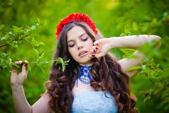 Woman stay in park Royalty Free Stock Image