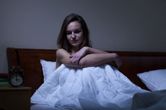 Woman staying awake at night Stock Image
