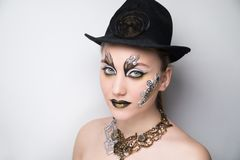 Woman steam punk make up royalty free stock image
