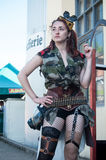 Woman with steampunk sexy costume at cosplay exhibition event Royalty Free Stock Photo