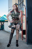 Woman with steampunk sexy costume at cosplay exhibition event Royalty Free Stock Images