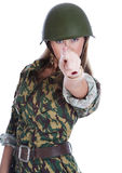 Woman in a steel helmet. On white background Royalty Free Stock Photography