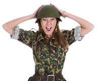 Woman in a steel helmet Royalty Free Stock Photography