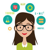 Woman with STEM icons flat design EPS10 vector royalty free illustration