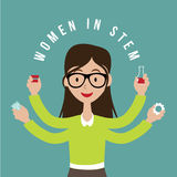 Woman with STEM icons flat design EPS10 vector. Woman with STEM icons flat design. EPS10 vector Royalty free illustration for advertising, promotion, poster royalty free illustration