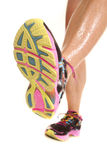 Woman step bottom of shoe Stock Images