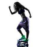 Woman Stepper fitness exercises silhouette Royalty Free Stock Photography