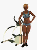 Woman with stepping machine Royalty Free Stock Photos
