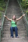 Woman on Steps Stock Photo