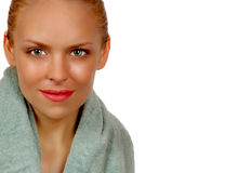 Woman Steps Out of The Shower Stock Photo