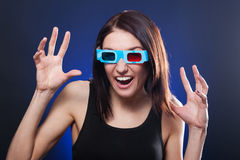 Woman in stereo glasses. Frightened woman in stereo glasses stock photos