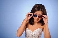 Woman with stereo glasses Royalty Free Stock Photo