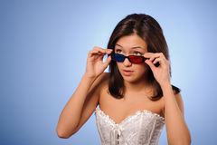 Woman with stereo glasses Royalty Free Stock Photography