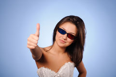 Woman with stereo glasses Stock Photography