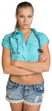 Woman with stethoscope on her neck Stock Photography