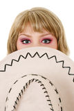 Woman and stetson hat. Beautiful blonde young woman and stetson hat isolated over white background Royalty Free Stock Image