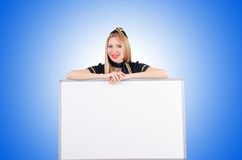 Woman stewardess with the blank board Stock Images