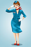 Woman stewardess flight attendant character cartoon style  Stock Photos