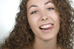 Woman sticking her tongue out Stock Image