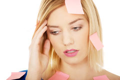 Woman with sticky notes. Royalty Free Stock Image