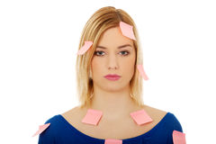 Woman with sticky notes. Royalty Free Stock Images