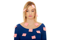 Woman with sticky notes. Stock Photography