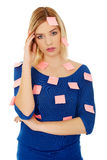Woman with sticky notes. Stock Photos