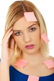 Woman with sticky notes. Royalty Free Stock Photo