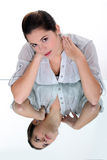 Woman with a stiff neck. Young woman with a stiff neck Stock Photos