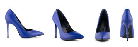 Woman stiletto high heel shoes isolated blue. Woman stiletto high heel isolated front back cross side blue black shoes stock photos