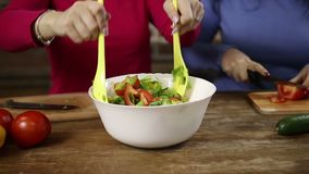 Woman stirring a bowl of fresh vegetable salad stock video