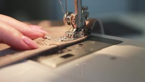 Woman Using a Sewing Machine stock video footage