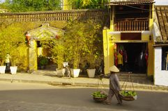 A woman with a stockade in thethe street in Hoi An. The transportation of goods is still much that way in Vietna Stock Photos