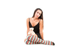 Woman in stockings Stock Photography