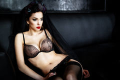 Woman in stockings and lingerie Royalty Free Stock Photo