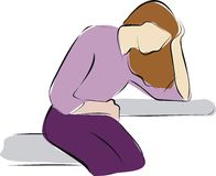 Woman stomach ache, vector illustration