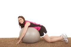 Woman stomach fitness ball smile Royalty Free Stock Photo
