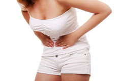 Woman with stomach issues Stock Photos