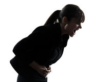 Woman stomach pain cramp silhouette Royalty Free Stock Photos