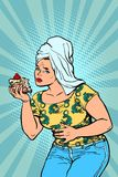 Woman stomach pain after the sweet cake. Comic cartoon pop art retro illustration vector kitsch drawing Royalty Free Stock Photos