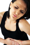 Woman stomachache pain Stock Photography