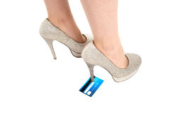Woman stomping a credit card Stock Photo
