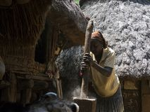 Woman stomps corn, in the village of Konso stock photo