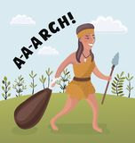 Woman of the stone age. Isolated art on white background. Vector. Cartoon. Vector cartoon illustration of woman of the stone age on summer background Royalty Free Stock Photography